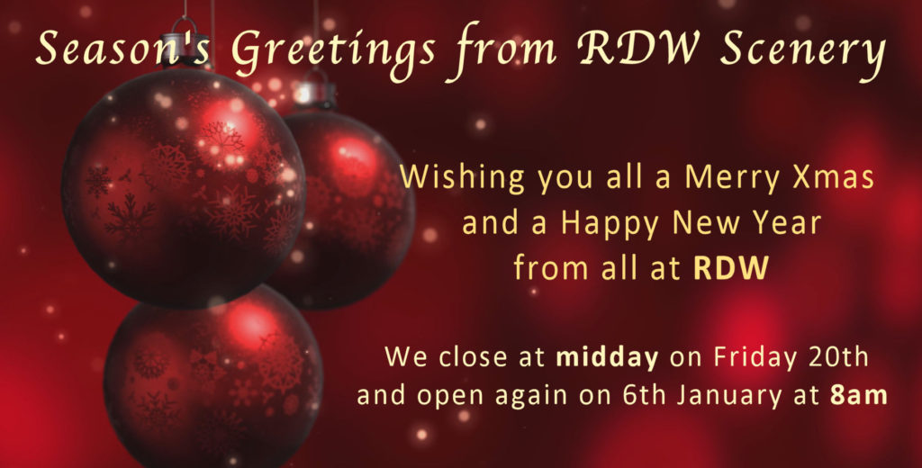 Wishing you all a Merry Xmas and a Happy New Year from all at RDW. We close at midday on Friday 20th and open again on 6th January at 8am